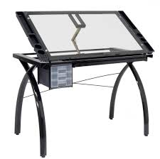 Glass Top Drafting Drawing Table Studio Designs 10072 Futura Craft Station Black Clear