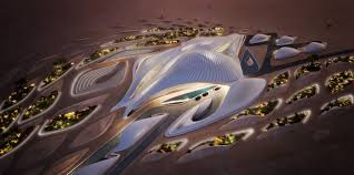 alian a h new building in the arabian desert looks like an spaceship fleet