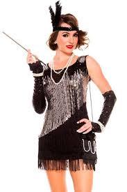 Halloween Flapper Costumes Black Silver Bling Sequin Tassel Fringe Dress Womens