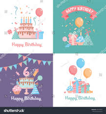 set happy birthday card template funny stock vector 494138053