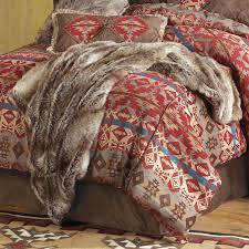Faux Fur Comforter Set King Rustic Bedding Chinchilla Faux Fur Throw Black Forest Decor