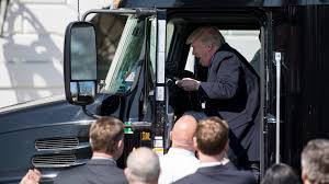 buy volvo semi truck president trump plays in semi truck at the white house the drive