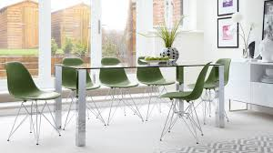 Glass Dining Table Chairs Contemporary Glass 6 Seater Dining Table And Eames Dining Chairs