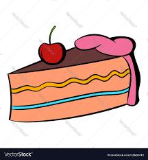 piece of cake icon cartoon royalty free vector image