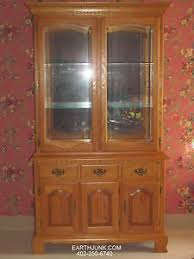 tell city chair co sunlit oak china cabinet full glass lighted
