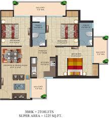 Sq Ft 1225 Sq Ft 3 Bhk 2t Apartment For Sale In Ajnara Integrity Raj