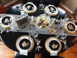 modern thanksgiving table black white gold