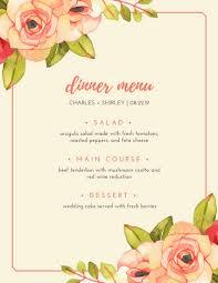 Wedding Menu Template Pink Floral Border Boho Wedding Menu Templates By Canva