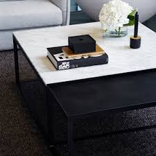 modern designer coffee tables designer melrose square marble coffee table set black metal base