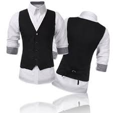 mens v neck solid casual suit vest fashion slim fit waistcoats at