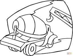 cement mixer on the building site coloring page free printable