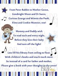 Books Instead Of Cards For Baby Shower Poem Rock Star Monkey Poem Card For Baby Shower Digital By Bdpdesigns