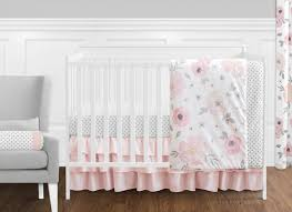White Nursery Bedding Sets 11 Pc Blush Pink Grey And White Watercolor Floral Baby Crib