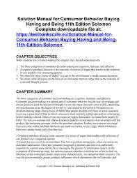 solution manual for consumer behavior buying having and being 11th