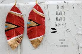 how to make feather earrings diy tribal leather feather earrings