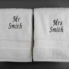 wedding gift hers uk personalised his and hers towels embroidered gifts by