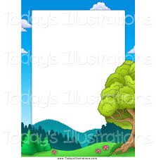 clipart of a border of sky mountains and trees around white space