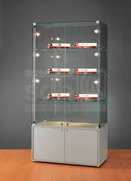 Contemporary Display Case Glass Illuminated Commercial Sdb