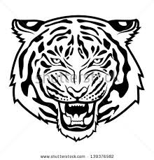 free black and white tiger outline free vector 15 017