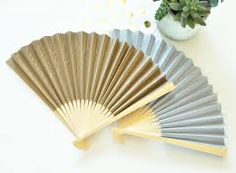 personalized fans wedding fans with personalized gold or silver foil labels