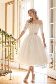 short off shoulder lace wedding dresses 1 2 long sleeve rhinestone