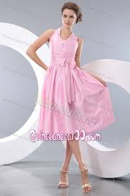 pink halter tea length prom dresses for dama with cute bowknot