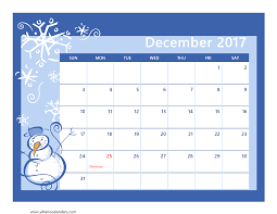 December 2017 Calendar Cute