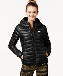nike victory 550 down hooded jacket in black lyst