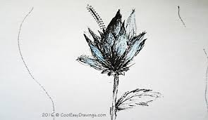 simple black and white sunflower drawing
