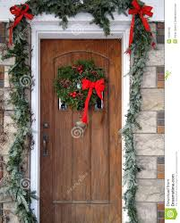 backyards front door with decorations stock photo
