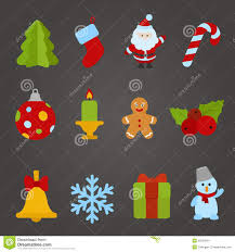 christmas vector flat design icon set happy new y stock image