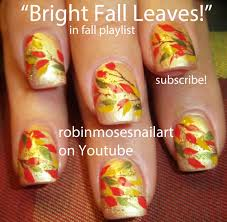 diy fall leaves on gold nails easy autumn nail art design