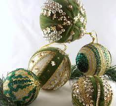 lot 5 vintage green bead sequin pins handmade styrofoam christmas