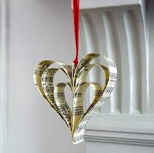 handmade sheet music christmas decoration by made in words
