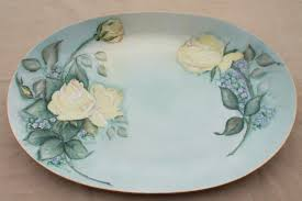 painted platter vintage china platter or oval tray painted yellow roses on