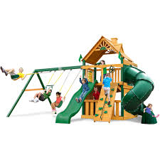 Wooden Swing Set Canopy by Gorilla Playsets Mountaineer Clubhouse Wooden Swing Set Walmart Com