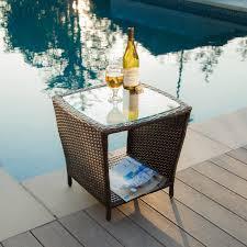 Ebay Wicker Patio Furniture Outdoor Patio Furniture Elegant Brown Wicker Side Table W Glass