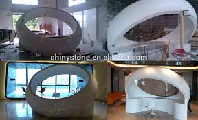 Circular Reception Desk Custom Circular Shape Modern Commercial Lobby Solid Surface Oval