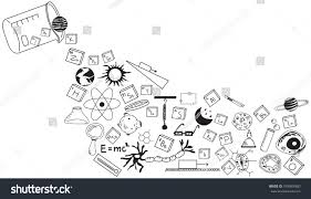 physics chemistry biology astronomy science doodle stock vector