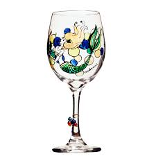 mermaid painted wine glass custom wine glasses design