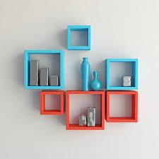 wall shelves pepperfry desi karigar wall mount shelves square shape set of 6 wall shelves