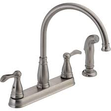 delta porter 2 handle side sprayer kitchen faucet in stainless