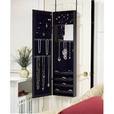Black Armoire Black Over The Door Mirrored Jewelry Armoire Free Shipping Today