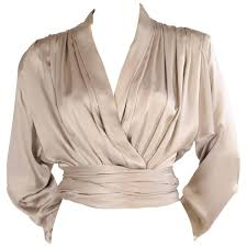 wrap blouses yves laurent haute couture pale grey silk charmeuse wrap