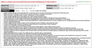 loader and unloader resume sample