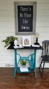 Singer Sewing Machine Cabinets by My Repurposed Life Turquoise Singer Treadle Side Table Jpg