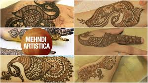five patterns of stylist henna mehndi peacocks for bridal hands