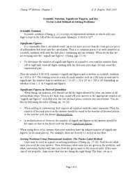 scientific notation significant figures and the factor label