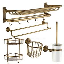 Bathroom Hardware Sets Designer 5 Piece Foldable Antique Brass Bathroom Accessory Sets