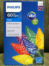 philips led 60 multi faceted c6 lights bulbs green wire 19 ft
